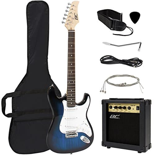 Best Choice Products 39in Full Size Beginner Electric Guitar Starter Kit with Case, Strap, 10W Amp, Strings, Pick, Tremolo Bar (Blue) 2