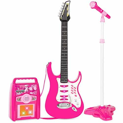 Best Choice Products Kids Electric Musical Guitar Toy Play Set w/ 6 Demo Songs, Whammy Bar, Microphone, Amp, AUX - Pink 7