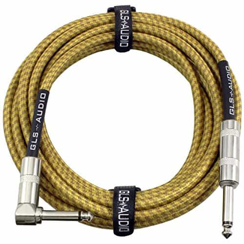 GLS Audio 20 Foot Guitar Instrument Cable - Right Angle 1/4 Inch TS to Straight 1/4 Inch TS 20 FT Brown Yellow Tweed Cloth Jacket - 20 Feet Pro Cord 20' Phono 6.3mm - Single 9