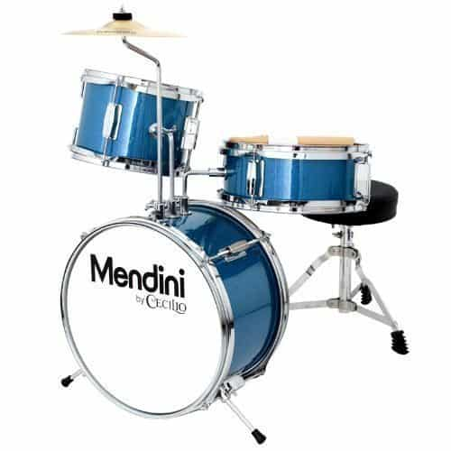 Mendini by Cecilio 13 inch 3-Piece Kids/Junior Drum Set with Throne, Cymbal, Pedal & Drumsticks, Metallic Blue, MJDS-1-BL 2